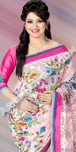 Exclusive Pink Jamdani Dhakai Jamdani Saree, Eid Collection 2014, Saree, Sharee, Sari, Bangladeshi Saree