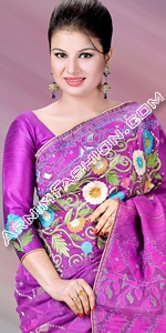 Exclusive Purple Jamdani Dhakai Jamdani Saree, Eid Collection 2014, Saree, Sharee, Sari, Bangladeshi Saree