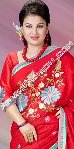 Red Half Silk Saree Eid Collection 2015, Saree, Sharee, Sari, Bangladeshi Saree