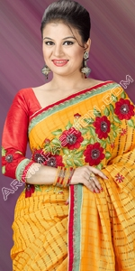 Yellow Half Silk Saree